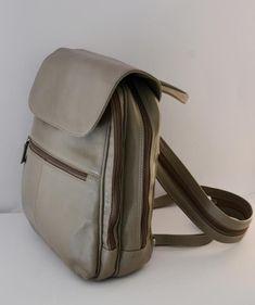 Large Beige Grey Rucksack Backpack Shoulder Bag Carlo Finest Leather Exc Cond A1