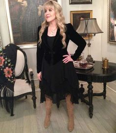 "Check out this picture of Stevie Nicks on the set of ""American Horror Story: Coven."""