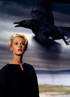 Tippi Hedren in publicity still for The Birds (1963, dir. Alfred Hitchcock) Photo by Philippe Halsman. (via), via oldhollywood.