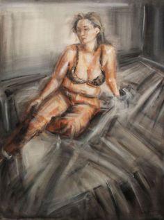 una notte con bukowski interno7 figura,olio su tela,60x80x 5 cm,2007l.jpg