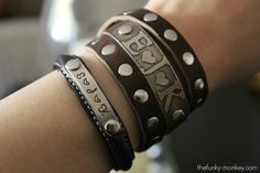 Love these personalized leather wrap bracelets!