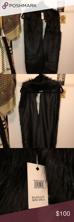 """Badgley Mischka Faux Mink Stole """"Plush faux mink lends luxe softness to a sleek, elegant stoke lined in smooth satin."""" 7"""" x 42"""" Badgley Mischka Accessories Scarves & Wraps"""