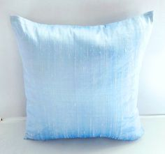 Shiny Ice Blue dupioni silk pillow cover throw pillow baby blue decorative cushion cover.   postal colour new  arrivals.  14inch