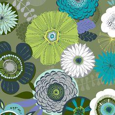 Items similar to BLEND fabrics Maude Asbury Calypso Floral in Sage on Etsy Living Room Decor Colors, Room Paint Colors, Colour Pallette, Colour Schemes, Palette, Living Room Inspiration, Color Inspiration, Textile Patterns, Print Patterns