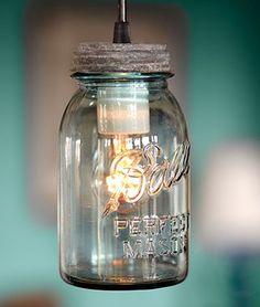 Light bulb in a mason jar! Awesome idea for deck lighting!