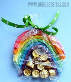 To make this cute St. Patrick's party favor -you'll need Rolos, Rainbow Twizzlers, crafty cellophane treat bags, and green ribbon. From http://www.ourbestbites.com/2012/03/st-patricks-day-rainbows/