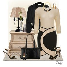 """""""Nude & Black"""" by diane-hansen on Polyvore....LOVE this, but why is the skirt $1,500!? Wow, really?"""