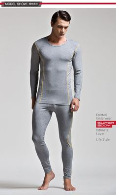 Excellent Fashion Casual Men Winter Fall Modal Sleepwear Sets Sexy Strong Male Undershirt Bodysuit Lingerie Soft Fabric M L XL