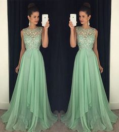 Shiny green round neck sequin long prom dress, A-line crystal beads evening dress,party dresses