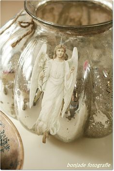 white angel on silver