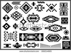 Aztec Native Navajo design elements vector set - stock vector