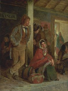 Erskine Nicol 'The Emigrants', 1864 This picture shows Irish emigrants at Ballinasloe station on their way to Galway to board boats to America. This is one of a number of paintings on the very topical subject of emigration which appeared at public exhibitions around this time. They were intended to draw attention to the plight of the poor, and also to provoke a charitable response in the spectator.Erskine Nicol was born in Scotland but established his reputation painting Irish subjects.