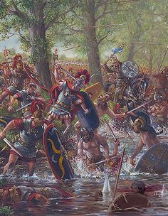 Centurion of VIII Roman Legion, leads a counterattack against the Belgae at the Battle of Sabis, 57 BCE - art by Mark Churms Roman Warriors, Celtic Warriors, Military Art, Military History, Ancient Rome, Ancient History, Rome Antique, Roman Legion, Roman Empire