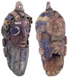 Phoenician Glass Face Pendant
