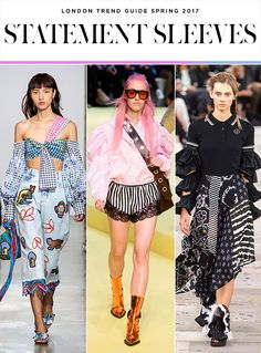 The 5 Biggest Trends from London Fashion Week Spring 2017 | statement sleeves seen at Peter Pilotto; Marques ' Almeida; Preen by Thornton Bregazzi