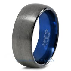 Blue Chromacolor Black Dome Cut Tungsten Ring
