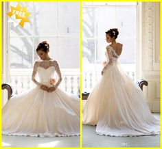 Wholesale Wedding Dresses - Buy Sheer Garden Backless Wedding Dresses 2014 New Chiffon With Long Sleeves Appliques Ball Gowns Lace Long Chapel Length Bridal Dress, $155.0   DHgate