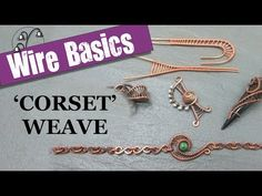 This video goes back to basics to take a look at the Corset weave - including how to weave an increasing gap, the weave with no gap and weaving around a curve. For more hints, tips and projects, visit . Wire Jewelry Making, Jewelry Making Tutorials, Wire Wrapped Jewelry, Diy Jewelry, Jewlery, Jewellery Making, Wire Weaving Tutorial, Homemade Jewelry, Copper Jewelry
