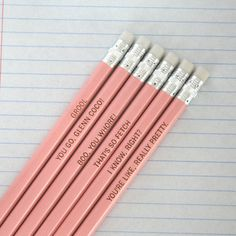 Mean Girls Assorted Engraved Pink Pencils by The Carbon Crusader. You go Glenn Coco!! ;)