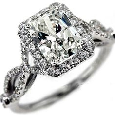 Find More Rings Information about Luxury Vintage CHARLES&COLVARD Brand 1.1  Carat Cushion Cut Moissanite Ring 14k White Gold Test Positive Lab Grown  Diamond ...