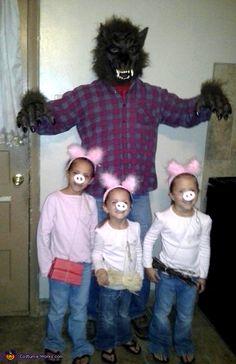 Three Little Pigs and Big Bad Wolf - Family Halloween Costume Idea