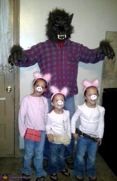 Three Little Pigs and Big Bad Wolf - Family Halloween Costume Idea