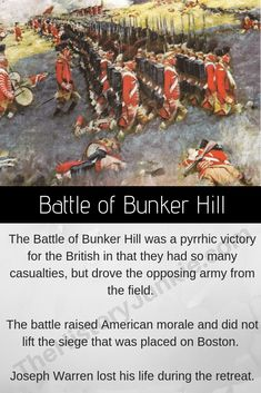 The Battle of Bunker Hill was the bloodiest battle for the British during the American Revolutionary War. The British technically won the battle, but it felt more like a victory for the Americans. Revolutionary War Battles, American Revolutionary War, American Civil War, American History, Pearl Harbor History, American Revolution Battles, Christian Liberty Press, Battle Of Bunker Hill, Colonial America