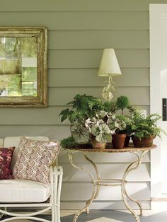 A great way to make smaller potted plants pop is to group them together on a table; here a collection of begonias, ferns, and myrtle topiary thrive on the screened porch.