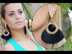 Como Fazer Maxi Brincos Leque Em Casa - YouTube Silk Thread Earrings, Thread Jewellery, Beaded Jewelry, Bead Embroidery Tutorial, Beaded Embroidery, Diy Jewelry Tutorials, Beading Tutorials, Diy Earrings, Crochet Earrings