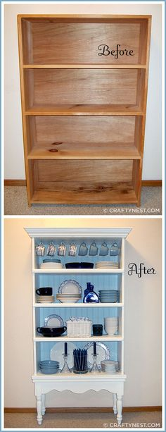 Tutorial - How to turn an old bookcase into a beautiful china cabinet.Tutorial - How to turn an old bookcase into a beautiful china cabinet. What a great idea! Refurbished Furniture, Paint Furniture, Repurposed Furniture, Furniture Projects, Diy Projects, Furniture Layout, Bedroom Furniture, Distressed Furniture, Cheap Furniture