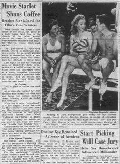 Marilyn in Rockford, Illinois for the Love Happy tour, June 1949 (from a vintage newspaper clipping).