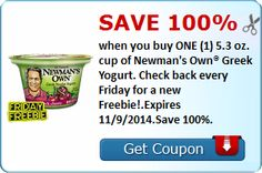 #Free cup of Newman's Own Greek Yogurt with new SavingStar #coupon