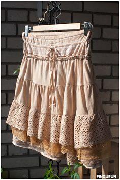 Tea dye skirt at www.pingurun.com