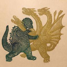 Woodcut of Godzilla vs King Ghidorah Japanese Monster, Godzilla Vs, Classic Monsters, Gravure, Japanese Art, Printmaking, Illustration Art, Monster Illustration, Cool Art