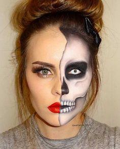 Half Faced Halloween Skeleton Makeup Look