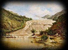 The Pink and White Terraces were natural geological wonders of New Zealand up until their destruction in due to volcanic activity. The Pink Terraces were known to the Maori people as 'O… Weird And Wonderful, Wonderful Places, Maori People, World Globes, Old Paintings, Natural Wonders, Geology, Archaeology, New Zealand