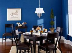 Dark blue dinng room wall paint colors ideas Good Suggestions on How to Choose the Perfect Dining Room Paint Colors