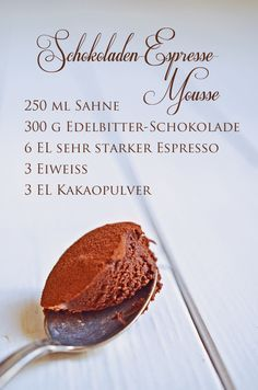 Rezept für Schokoladen-Espresso-Mousse (www.rheintopf.com) #chocolate #dessert #food
