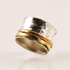 Spinner Ring - Hammered Three Tone - keja Jewelry