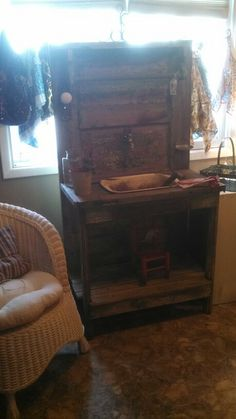 Old door potting bench with sink