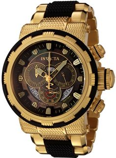 Invicta Men's 6662 Reserve Collection Chronograph Gold-Plated and Black Watch ** Continue to the product at the image link. Men's Watches, Sport Watches, Luxury Watches, Cool Watches, Fashion Watches, Watches For Men, Mens Gold Watches, Diamond Watches, Cheap Watches
