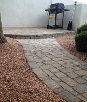 The perfect patio is waiting! Check out these great custom patio projects in Mesa, Arizona, with stone pavers and flagstone. Patio Slabs, Paver Walkway, Front Walkway, Walkways, Flagstone Pavers, Front Porch, Landscape Pavers, Landscape Design, Landscaping Around Patio