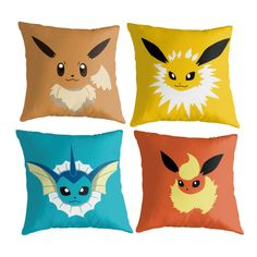 Eevee Evolutions Throw Pillows: Pokemon Inspired by LevelUpHome