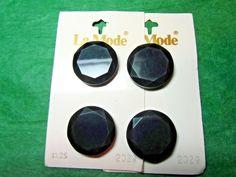 "(4) 7/8"" LaMODE BLACK PLASTIC SHANK BUTTONS 2-CARD LOT (N905)"