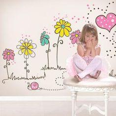 Vinilos Decorativos Flores de Amor Ceiling Murals, Wall Murals, Nursery Room Decor, Nursery Wall Art, Girl Room, Girls Bedroom, Attic Bedroom Designs, Mural Painting, Art Wall Kids
