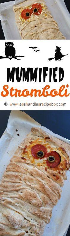 Mummified Stromboli - fun Halloween dinner idea that everyone will enjoy!