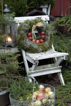 beautiful wreath, lantern, shabby chair