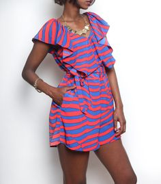 Colourful Zebra Print Playsuit ~Latest African fashion, Ankara, kitenge, African women dresses, African prints, African men's fashion, Nigerian style, Ghanaian fashion ~DKK77