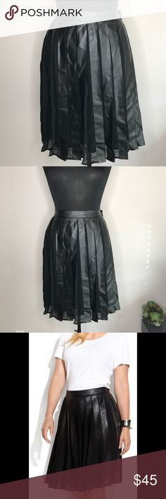 """Calvin Klein Plus Faux-Leather Pleated Skirt Great skirt for fall! Excellent used condition; only worn a couple of times. One dent in the waistband from being on hanger, should smooth out. Zipper & hook/eye close intact. Waist measurement 21"""", length 24.5"""" Calvin Klein Skirts"""
