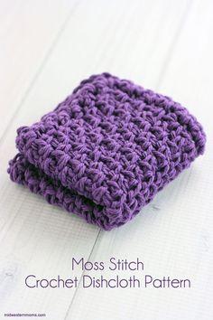 Free Moss Stitch Crochet Dishcloth Pattern